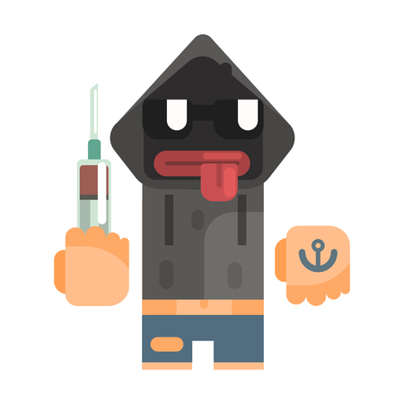Junkie With Hoodie And Shades Holding Syringe, Revolting Homeless Person, Dreg Of Society, Pixelated Simplified Male Vagabond Character Illustration