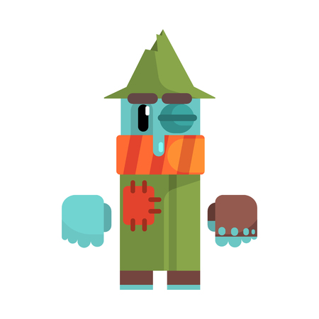 Tramp With Blue Sking And Black Eye Wearing Patched Green Coat, Revolting Homeless Person, Dreg Of Society, Pixelated Simplified Male Vagabond Character