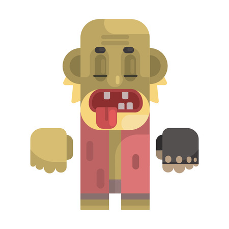Old Toothless Tramp With Blond Beard, Revolting Homeless Person, Dreg Of Society, Pixelated Simplified Male Vagabond Character Illustration
