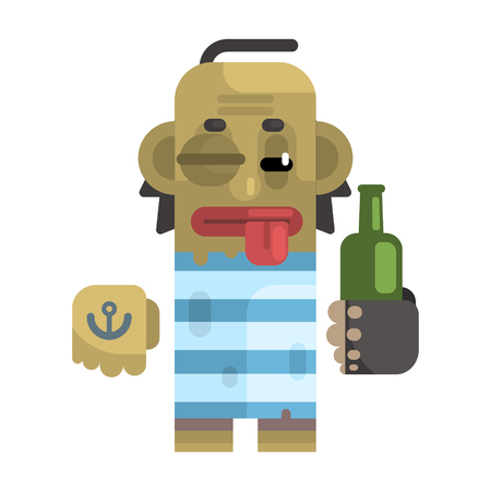 junkie: Drunk Alcoholic With Shiner And A Bottle Illustration