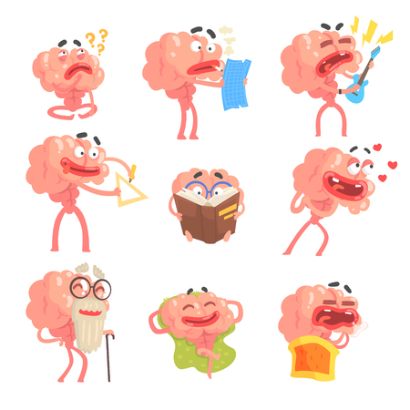 Humanized Brain Cartoon Character With Arms And Legs Funny Life Scenes And Emotions Set Of Illustrations Illustration