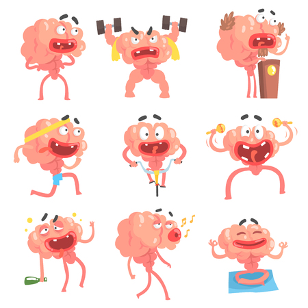 Humanized Brain Cartoon Character With Arms And Legs Funny Life Scenes And Emotions Collection Of Illustrations Illustration
