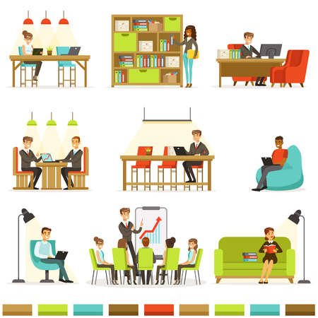 Coworking Workplace, Freelancers Sharing Space And Ideas In Office Where They Work Together Collection Of Illustrations Vektoros illusztráció