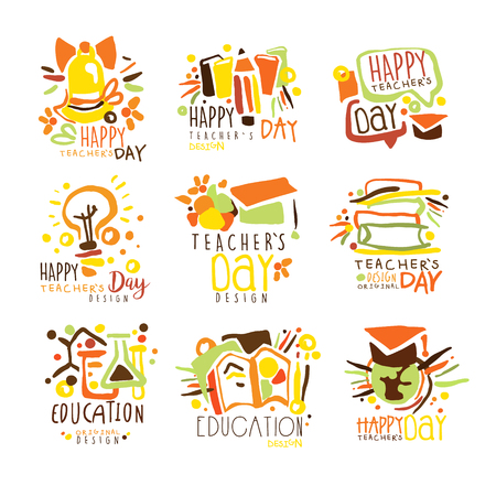 Happy Teachers Day Colorful Graphic Design Template Series,Hand Drawn Vector Stencils