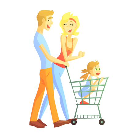 Young Parents With Little Girl Shopping, Happy Loving Families With Kids Spending Weekend Together Vector Illustration Illustration