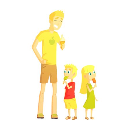 Dad And Twin Son And Daughter Eating Ice-cream, Happy Loving Families With Kids Spending Weekend Together Vector Illustration