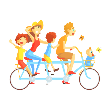 Parents And Kids On Triple Seat Bicycle Riding Outdoors In Summer, Happy Loving Families With Kids Spending Weekend Together Vector Illustration Illustration