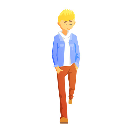 Sad Guy In Brown Pants And Jean Jacket, Young Person Street Fashion Look With Mass Market Clothes Illustration