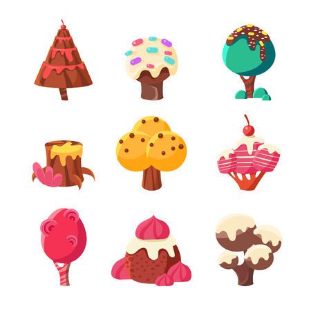 willy: Trees Made Of Sweets Set Illustration