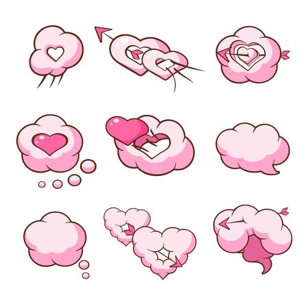 Heart Shaped Cloud Set Illustration