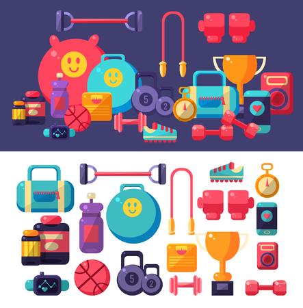 Gym Objects Set Illustration