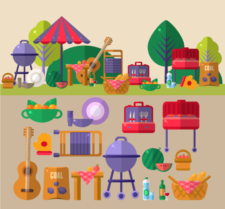 Barbeque Outdoors Object Set Illustration