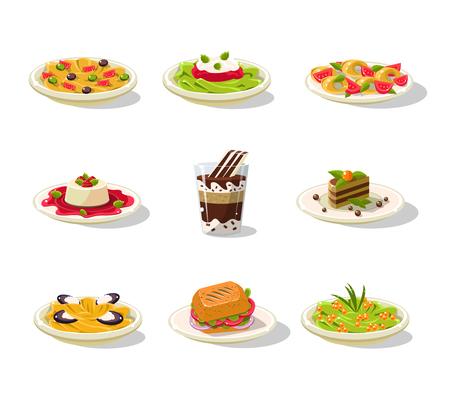 Ensemble d'illustration alimentaire italienne Banque d'images - 74141216