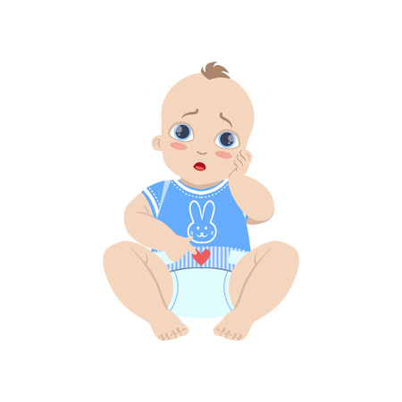 Baby In Blue With Dirty Nappy Illustration
