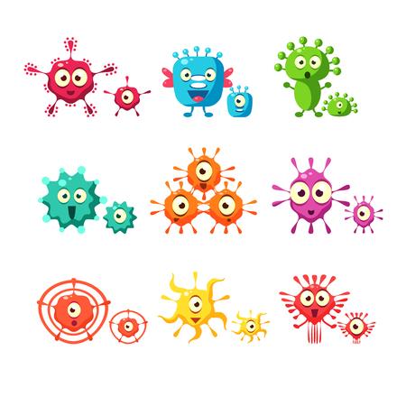 Bacteriën en virus leuke verzameling Stockfoto - 74072711