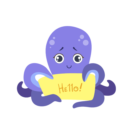 Octopus With The Template For The Message Stock Vector - 74141265