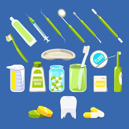 enjuague bucal: Conjunto de objetos relacionados con la odontología