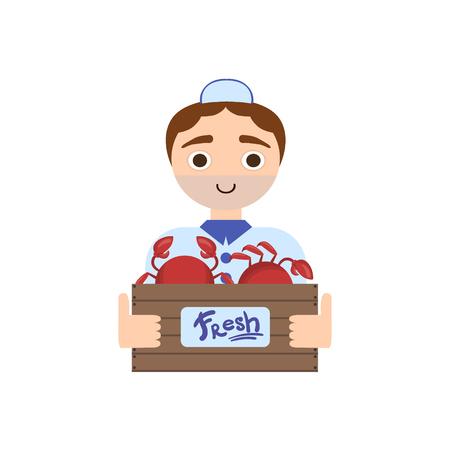wood crate: Market Crab Male Seller Illustration