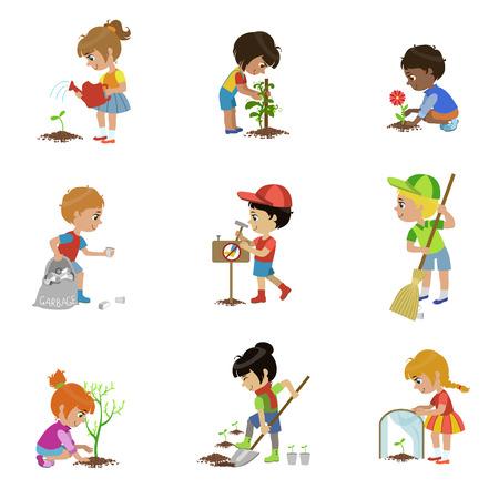 Kinderen tuinieren illustraties instellen Stock Illustratie