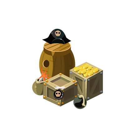 toy chest: Treasure And Bombs Toy Icon Illustration