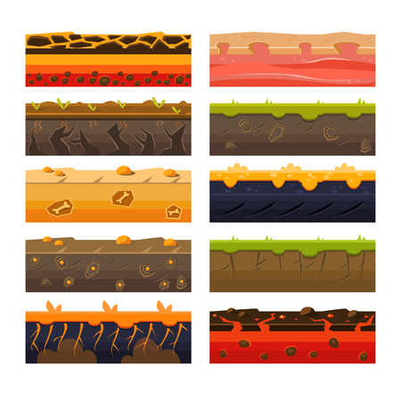 Different Ground Platformer Level Floor Design Set Illustration