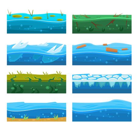 水プラットフォーマー階デザイン セット 写真素材 - 74141489