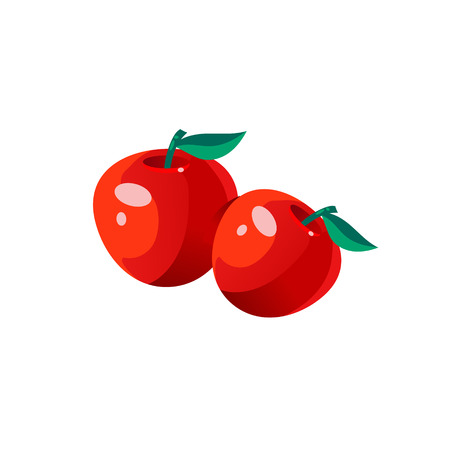 Apples Bright Color Simple Illustration Illustration