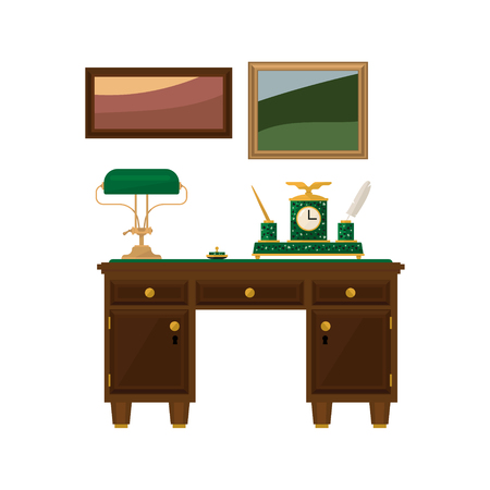 living room wall: Antique Wooden Home Office Desk