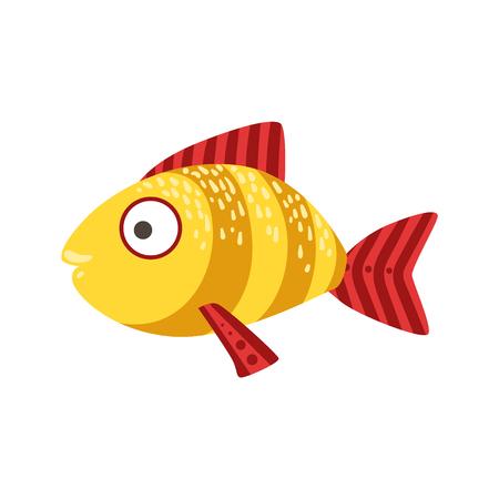 Yellow And Red Stripy Fantastic Colorful Aquarium Fish, Tropical Reef Aquatic Animal