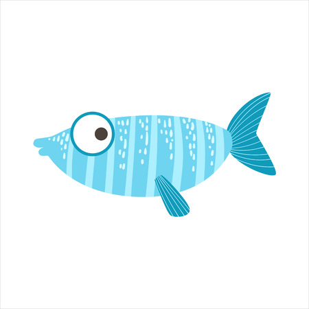 Silly Stripy Blue And Light Blue Fantastic Colorful Aquarium Fish, Tropical Reef Aquatic Animal