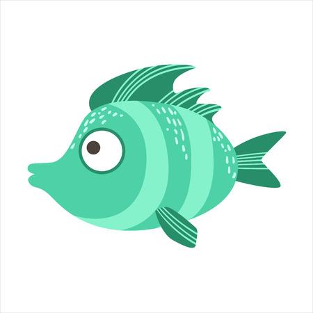 Turquoise Stripy Fantastic Colorful Aquarium Fish, Tropical Reef Aquatic Animal