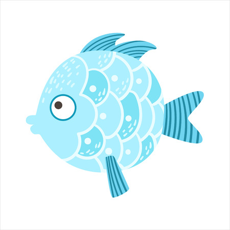 Round Blue Scaled Fantastic Colorful Aquarium Fish, Tropical Reef Aquatic Animal