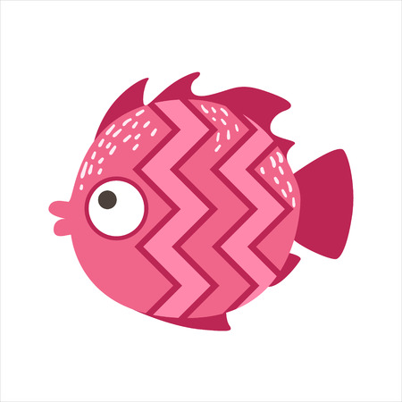 Pink Zigzag Pattern Fantastic Colorful Aquarium Fish, Tropical Reef Aquatic Animal