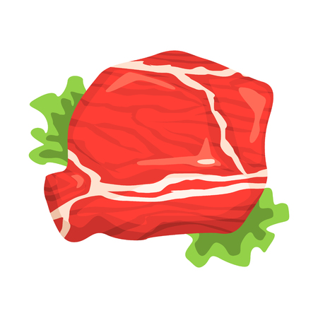 Piece Of Raw Beef, Food Item Rich In Proteins, Important Element Of The Healthy Balanced Diet Vector Illustration Illustration