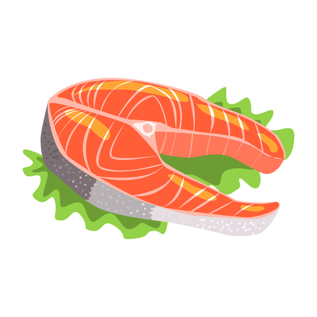 Filete de pescado de salmón, elemento de alimentos ricos en proteínas, Elemento importante de la dieta equilibrada saludable Ilustración vectorial Foto de archivo - 74163633