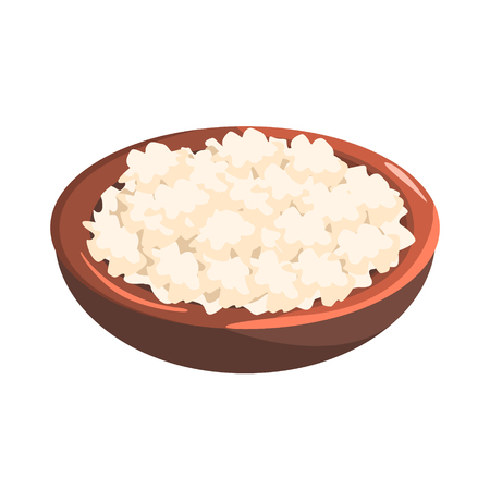 Plate Of Cottage Cheese, Food Item Rich In Proteins, Important Element Of The Healthy Balanced Diet Vector Illustration