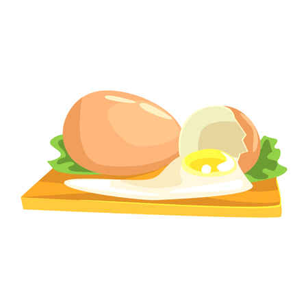 broken eggs: Chicken Egg, Food Item Rich In Proteins, Important Element Of The Healthy Balanced Diet Vector Illustration
