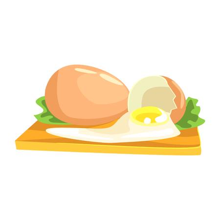 Huevo de pollo, artículo de alimentos ricos en proteínas, elemento importante de la ilustración de Vector de dieta equilibrada saludable Foto de archivo - 74163637
