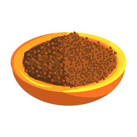 Plate Of Buckwheat, Food Item Rich In Proteins, Important Element Of The Healthy Balanced Diet Vector Illustration Illustration