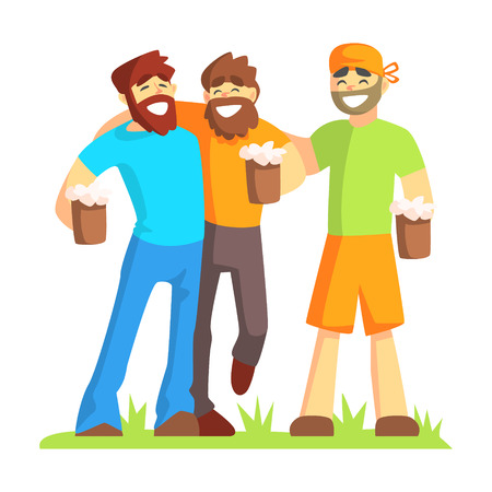 Three Friends With Bushy Beards Drinking Beer Outdoors, Part Of Male Friendship Series Of Illustrations.