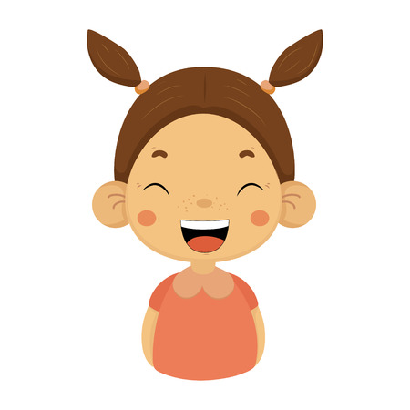Laughing Little Girl Flat Cartoon Portrait Emoji Icon With Emotional Facial Expression
