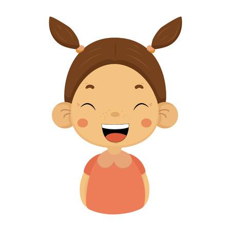 Laughing Little Girl Flat Cartoon Portrait Icône Emoji avec une expression de visage émotionnelle