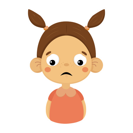 Disappointed Little Girl Flat Cartoon Portrait Emoji Icon With Emotional Facial Expression