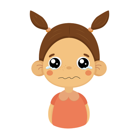 Crying Little Girl Flat Cartoon Portrait Emoji Icon With Emotional Facial Expression