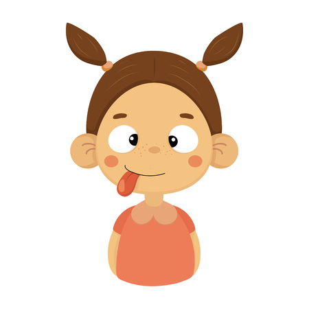 Silly And Joking Little Girl Flat Cartoon Portrait Emoji Icon With Emotional Facial Expression