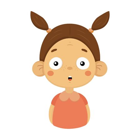 Surprised Little Girl Flat Cartoon Portrait Emoji Icon With Emotional Facial Expression Illustration