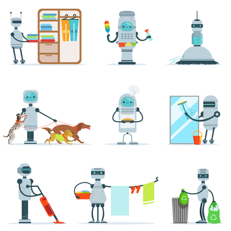 dog walking: Housekeeping Household Robot Doing Home Cleanup And Other Duties Set Of Futuristic Illustration With Servant Android Illustration