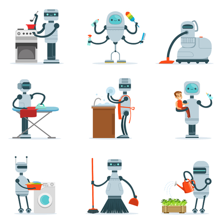 Housekeeping Household Robot Doing Home Cleanup And Other Duties Series Of Futuristic Illustration With Servant Android 向量圖像