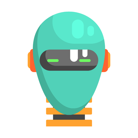 bionics: Android Head Facing Portrait, Part Of Futuristic Robotic And IT Science Series Of Cartoon Icons Illustration