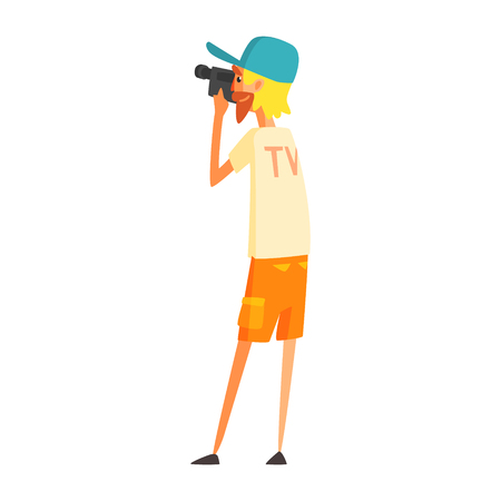 videographer: Videographer Journalist Shooting Video, Official Press Reporter Working, Collecting Information And Making News, Part Of Journalism Set Of Illustrations Illustration